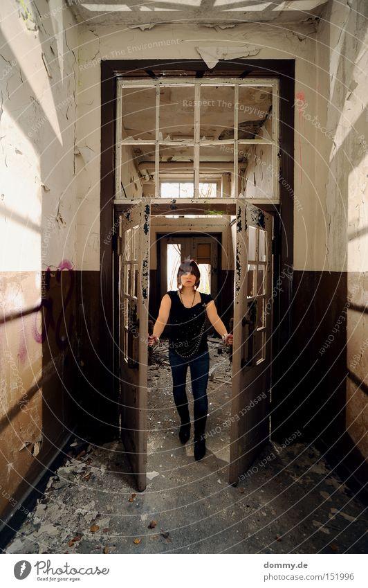 come in Woman Light Planning Shadow Scare Derelict Old Dirty Broken Boots Door swing door Idea Loneliness