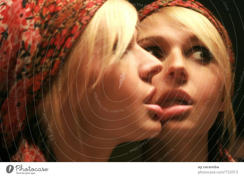Woman Beautiful Looking Love Loneliness Blonde Bathroom Lips Mirror Twin Headscarf Mouth Face Brown eyes