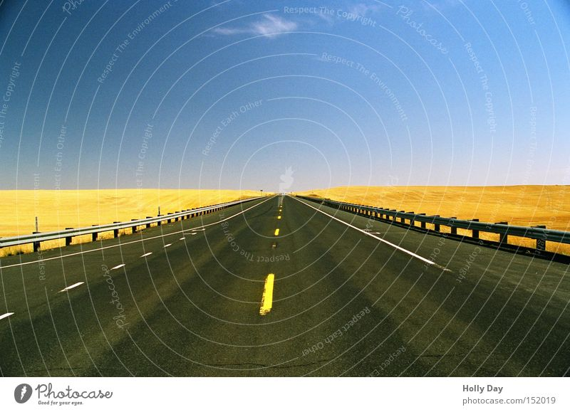 Blue Summer Far-off places Yellow Street Freedom Field Horizon Free Safety USA Asphalt Infinity Protection Highway Traffic infrastructure