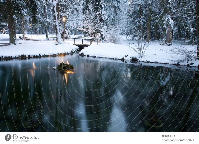 Water Winter Forest Snow Garden Lake Park Ice Bridge Peace Mirror Fir tree Lantern Floodlight Water fountain