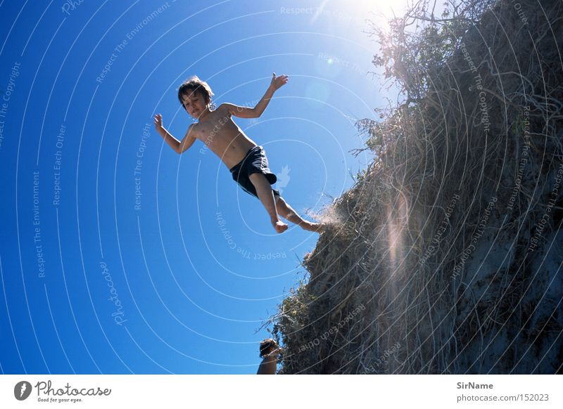 Child Sky Youth (Young adults) Vacation & Travel Sun Joy Boy (child) Jump Leisure and hobbies Infancy Trust Brave Dune Beach dune Test of courage