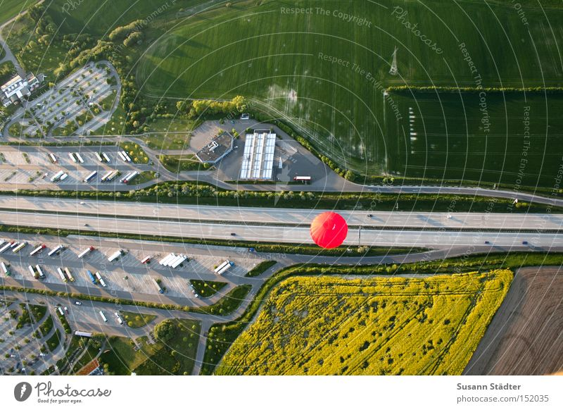 miniature world Highway Air Hot Air Balloon Dresden Saxony Red Summer Field Motor vehicle Resting place Highway Rest Stop Speed Parking Aviation Car