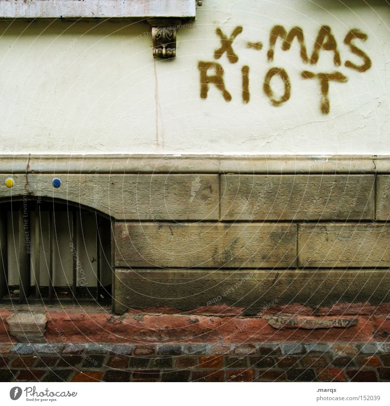 XMAS Riot Christmas & Advent Joy Wall (building) Graffiti Feasts & Celebrations Characters Anger Argument Typography Art Against Agitated Vandalism Writing