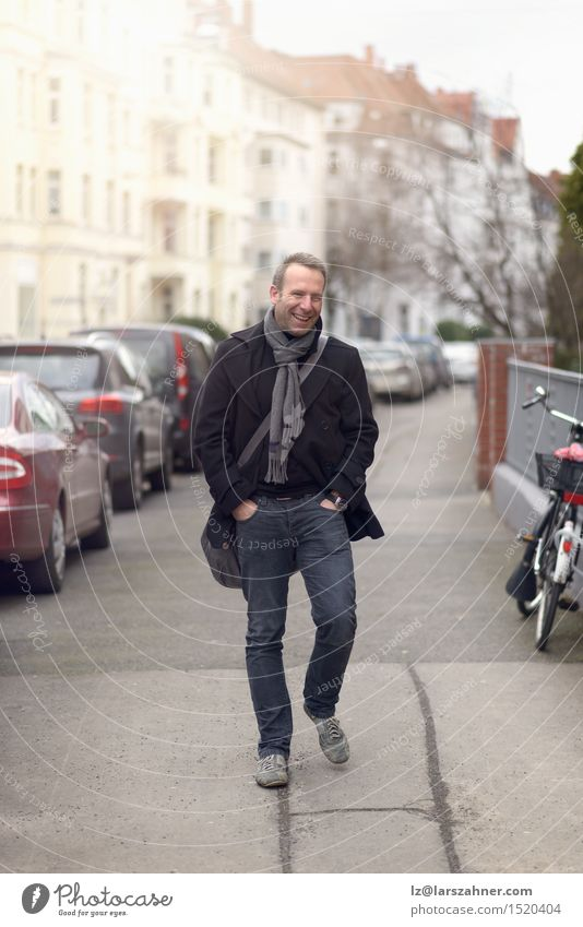 Handsome confident fashionable man in urban street Happy Face Calm Winter Masculine Man Adults 1 Human being 30 - 45 years Street Fashion Smiling Stand Thin