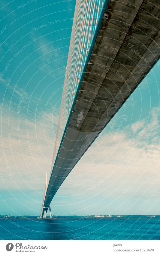 joining technology Sky Bridge Cable-stayed bridge Concrete Steel Gigantic Large Tall Blue Gray White Hope Lanes & trails Connection Colour photo Exterior shot