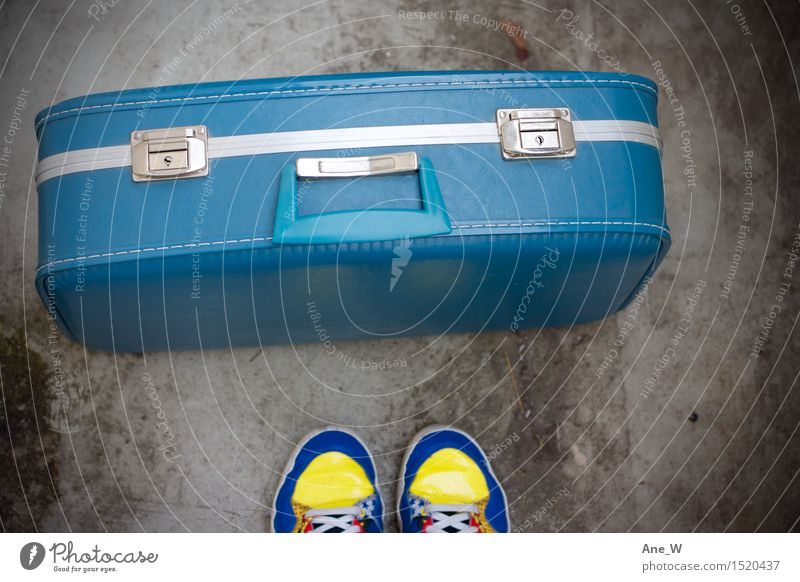 into the blue Lifestyle Vacation & Travel Trip Adventure Feet Suitcase Footwear Sneakers Leather Select Discover Stand Simple Free Positive Blue Emotions Joy