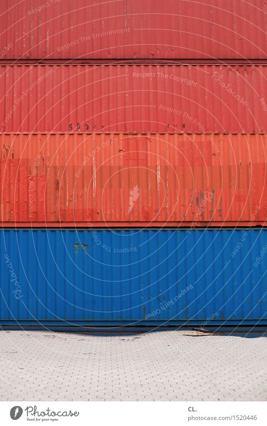 HH16.1 | container Workplace Construction site Economy Industry Logistics Container Container cargo Large Blue Red Competition Arrangement Growth Colour photo