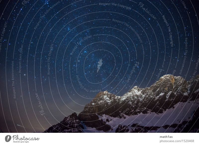 Dachstein Milky Way Night sky Stars Horizon Snow Peak Snowcapped peak Power Stagnating Moody Desire Colour photo Deserted Panorama (View)