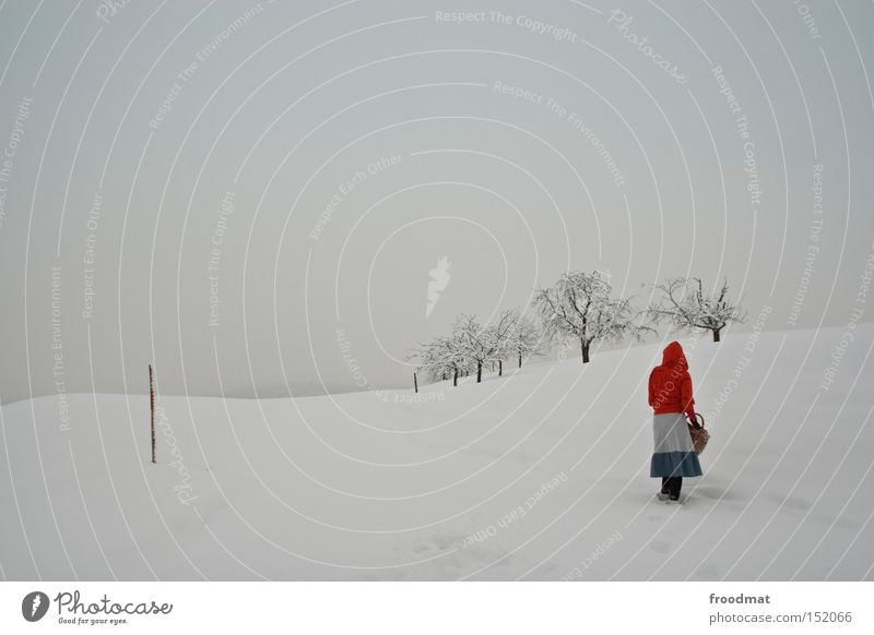 cap red Winter Snow Minimal Tree Mountain Switzerland Cold White Gray Calm Little Red Riding Hood Bleak Gloomy