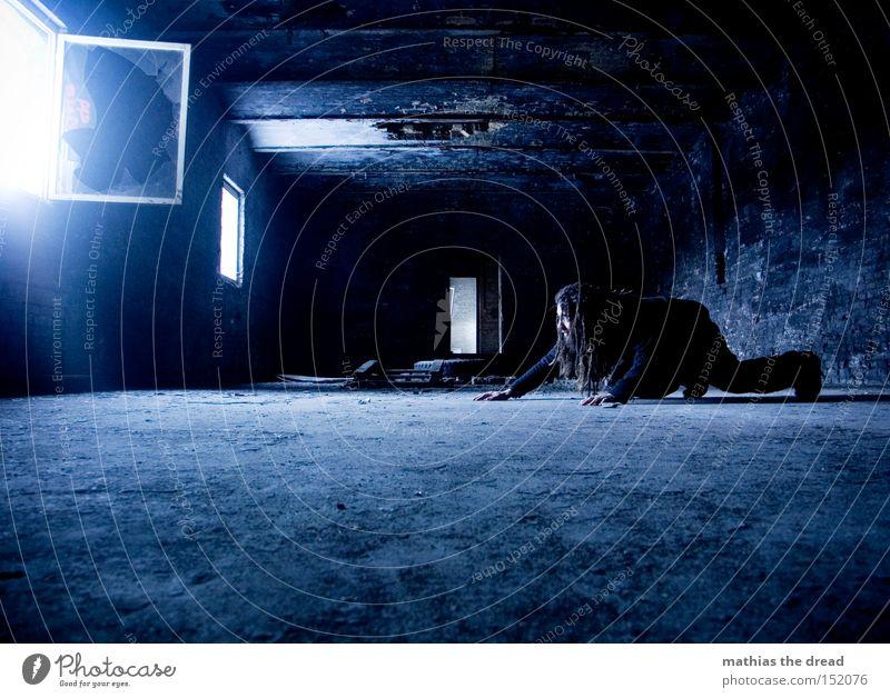 SLIPPERY CAT Loneliness Dark Creep Man Mysterious Concrete Black Room Window Derelict Flare Blue Transience Animalistic Shaft of light Fez