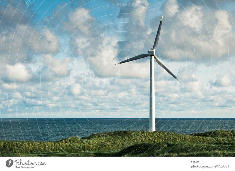 Sky Ocean Clouds Environment Coast Wind Energy industry Authentic Wind energy plant Economy Ecological Pinwheel Renewable energy