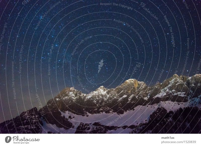 Sky Mountain Environment Snow Contentment Stars Peak Safety Target Snowcapped peak Night sky