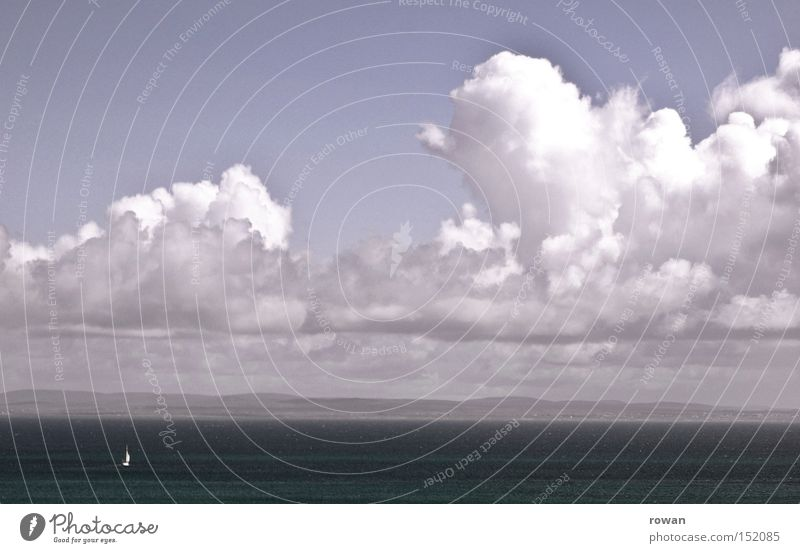 Sky Vacation & Travel Ocean Clouds Calm Far-off places Lake Watercraft Leisure and hobbies Navigation Sailing Sailboat Yacht Sport boats
