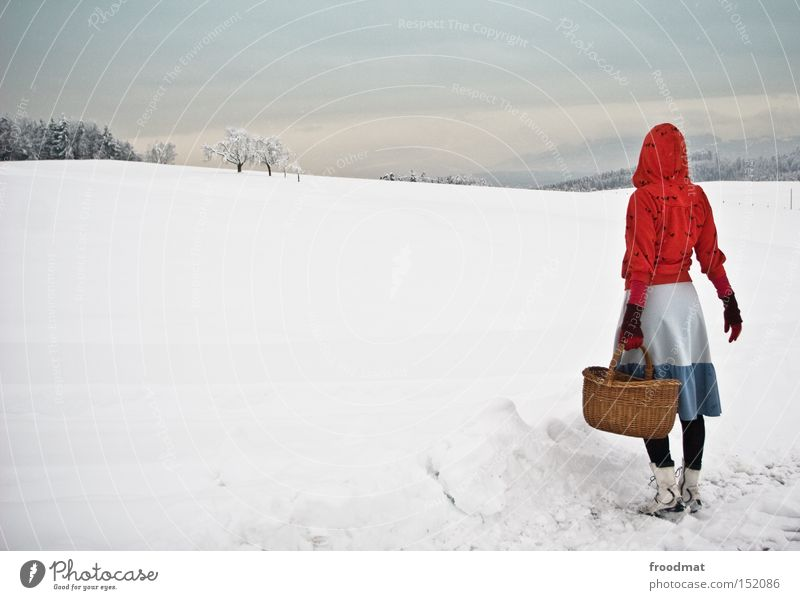 woman antje Winter Snow Little Red Riding Hood Fairy tale Tree Mountain Switzerland Cold White Gray Calm Basket Bleak
