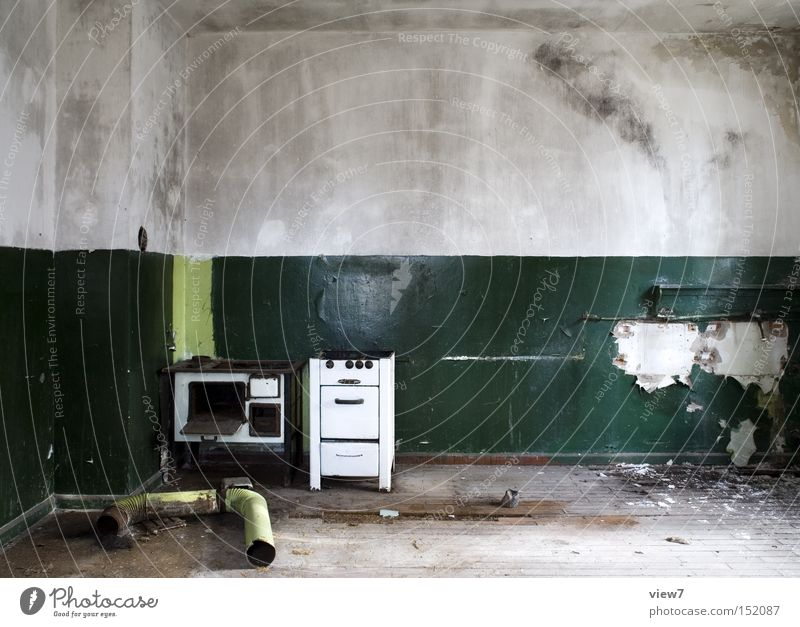 stovepipe Stove & Oven Kitchen Open Direct Old Loneliness Going Shabby Green Iron-pipe Chimney Fume cupboard GDR flag Colour Plaster Detail Derelict