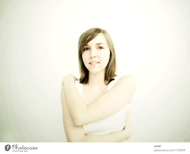 Woman White Portrait photograph Laughter Grinning Embrace