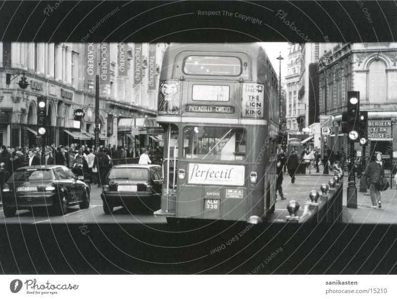 london3 London England Traffic light Transport Street Bus Black & white photo
