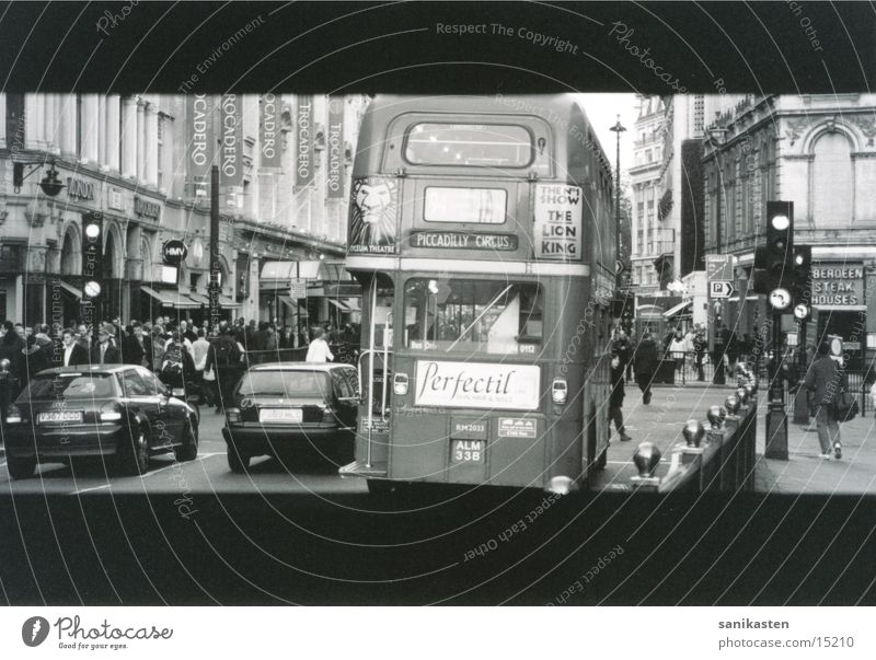 Street Transport London Bus Black & white photo England Traffic light