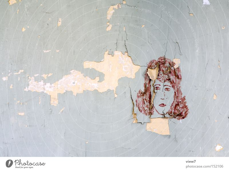 Woman Old Face Wall (building) Graffiti Wallpaper Obscure Painting and drawing (object) Shabby Facial expression Fashioned Conceptual design Drawing Expression Street art