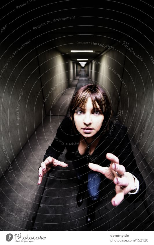 Gotcha! Woman Lady Subsoil Catch Grasp Hand Tunnel Dark Eyes Chest Lanes & trails Fingers Infinity Fear Panic