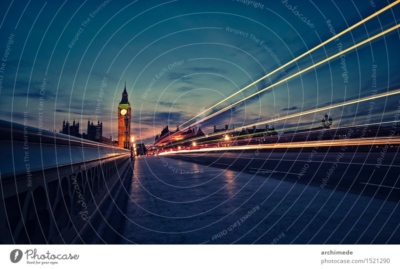 London skyline at twilight River Town Skyline Transport Street Movement Speed Big Ben Great Britain landmark bridgem thames westminster Cathedral cityscape