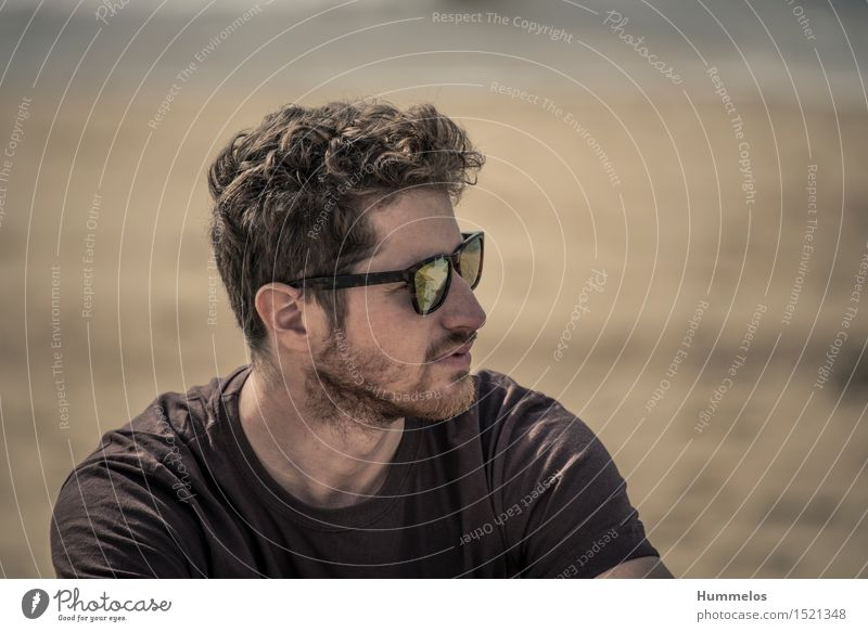 Portrait on the beach Vacation & Travel Summer Esthetic Cool (slang) Freedom 2015 Hossegor Brown Sunglasses sunglass Head portrait Man Dude sunshine Curl
