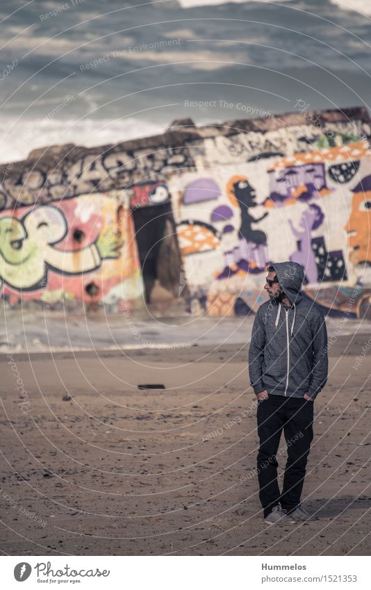 Portrait in front of bunker with graffiti Vacation & Travel Summer Human being Young man Youth (Young adults) Man Adults 1 18 - 30 years Esthetic Cool (slang)