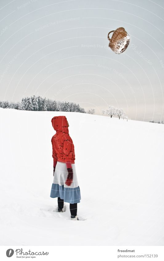 flying baskets Winter Snow Little Red Riding Hood Fairy tale Tree Mountain Switzerland Cold White Gray Calm Basket Bleak
