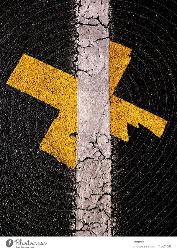 Crisscrossed Street Asphalt Tar Signs and labeling Line White Orange Crucifix Parking lot Cross out Traffic infrastructure Graffiti Mural painting Detail