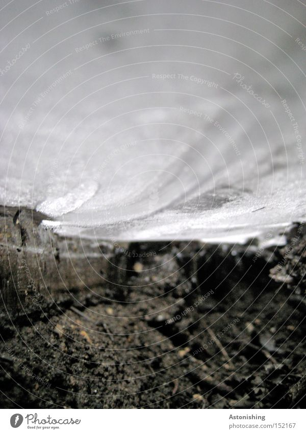 White Winter Black Dark Cold Ice Earth Perspective Frost Ground Floor covering Under Frozen Mud Frozen surface Sludgy