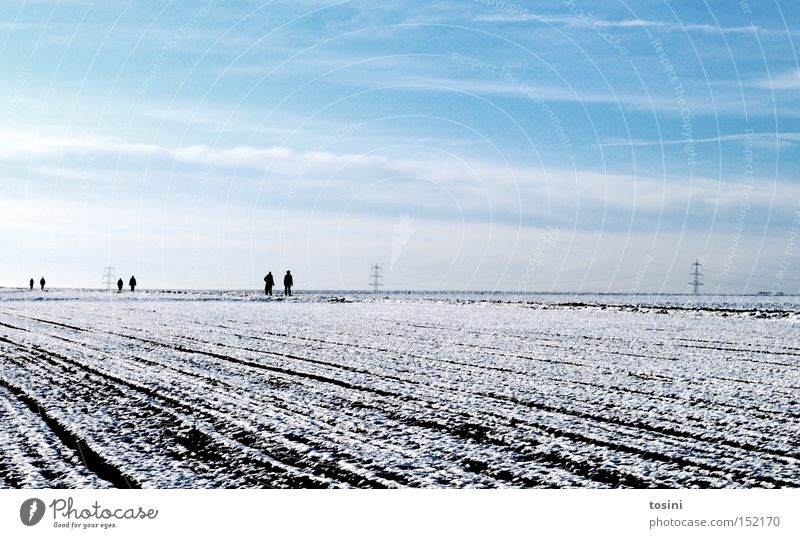 Human being Sky White Winter Clouds Snow Landscape Field Horizon Electricity To go for a walk Electricity pylon Furrow