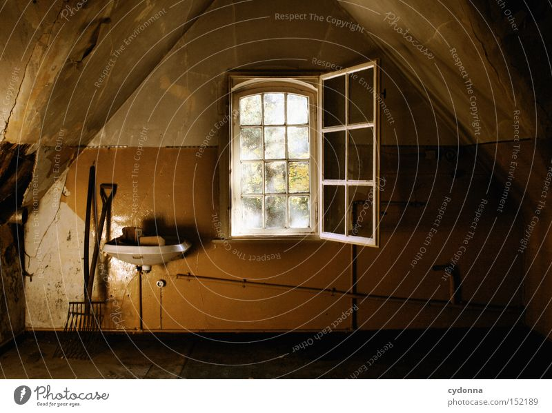attic House (Residential Structure) Villa Window Light Attic Vacancy Room Living or residing Time Transience Classical Sink Nostalgia Century Derelict