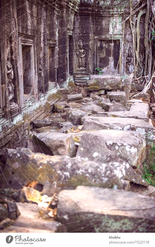Angkor Thom Temple view, Siem reap, Cambodia Face Vacation & Travel Tourism Virgin forest Rock Ruin Building Architecture Monument Stone Old Historic Society