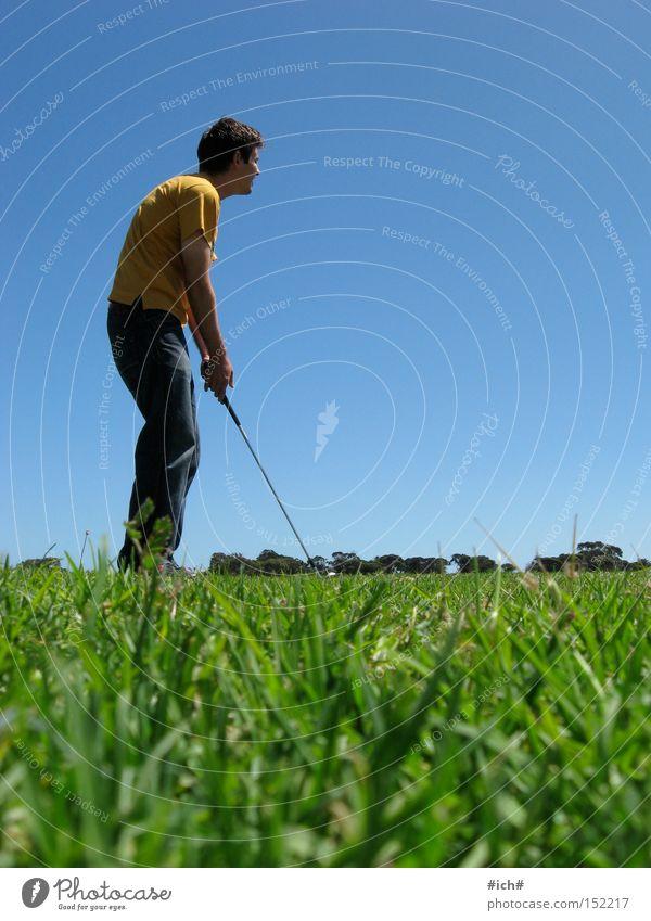 Human being Green Blue Yellow Sports Playing Grass Masculine Golf Gentleman