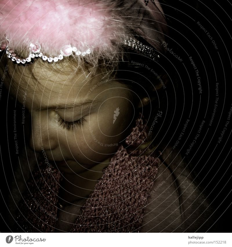lilliffe Child Girl Ballet Mask Carnival costume Princess Playing Fairy Pink Dream Hair circlet Scarf Face Portrait photograph Infancy Eyelash Nose