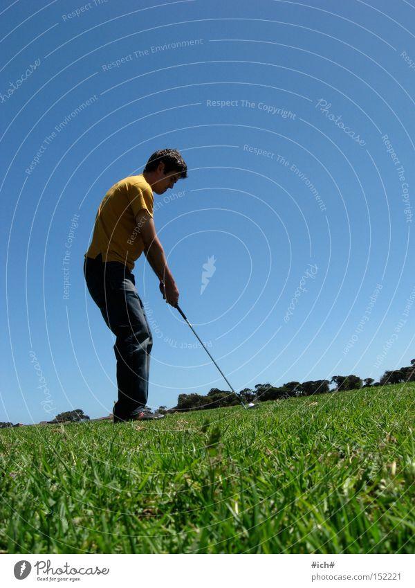 golf Green Golf Blue Human being Gentleman Masculine Yellow T-shirt Far-off places Grass Playing Tee off Sky Sports
