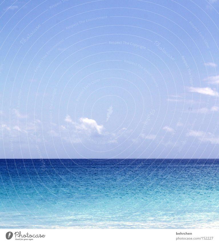 Sky Vacation & Travel Blue Water Ocean Clouds Coast Horizon Dream Waves To enjoy Seychelles Africa Honeymoon Dream island