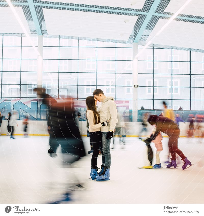 Lovely couple standing in the center of the rink Human being Woman Youth (Young adults) Man Beautiful Young woman Hand Young man 18 - 30 years Face Cold Adults
