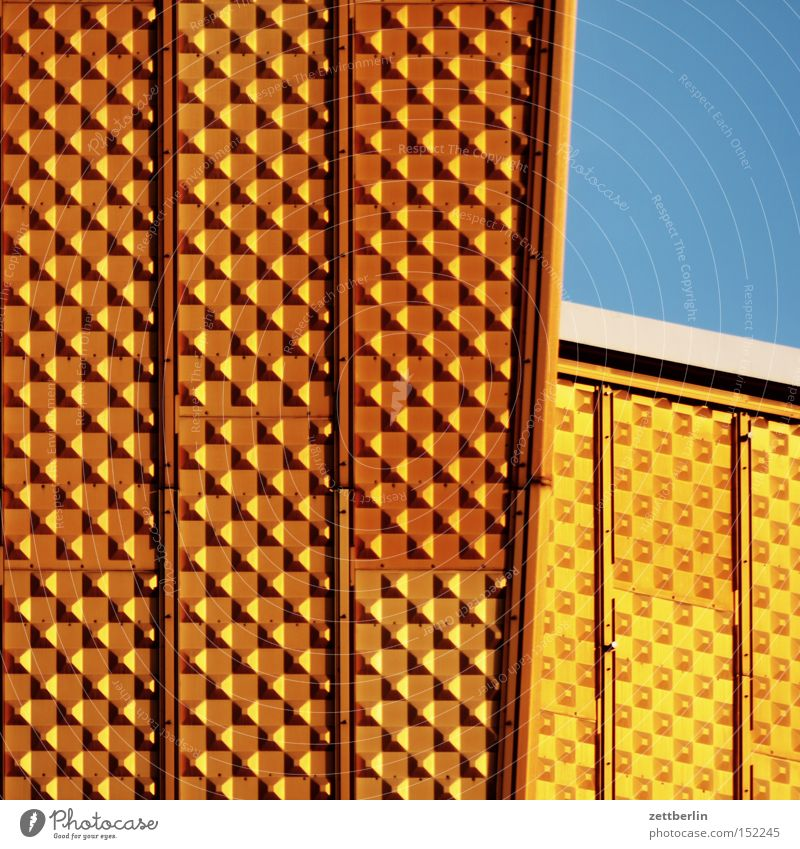 Yellow Berlin Gold Gold Construction site Culture Monument Manmade structures Landmark Work of art Works Berlin Philharmonic