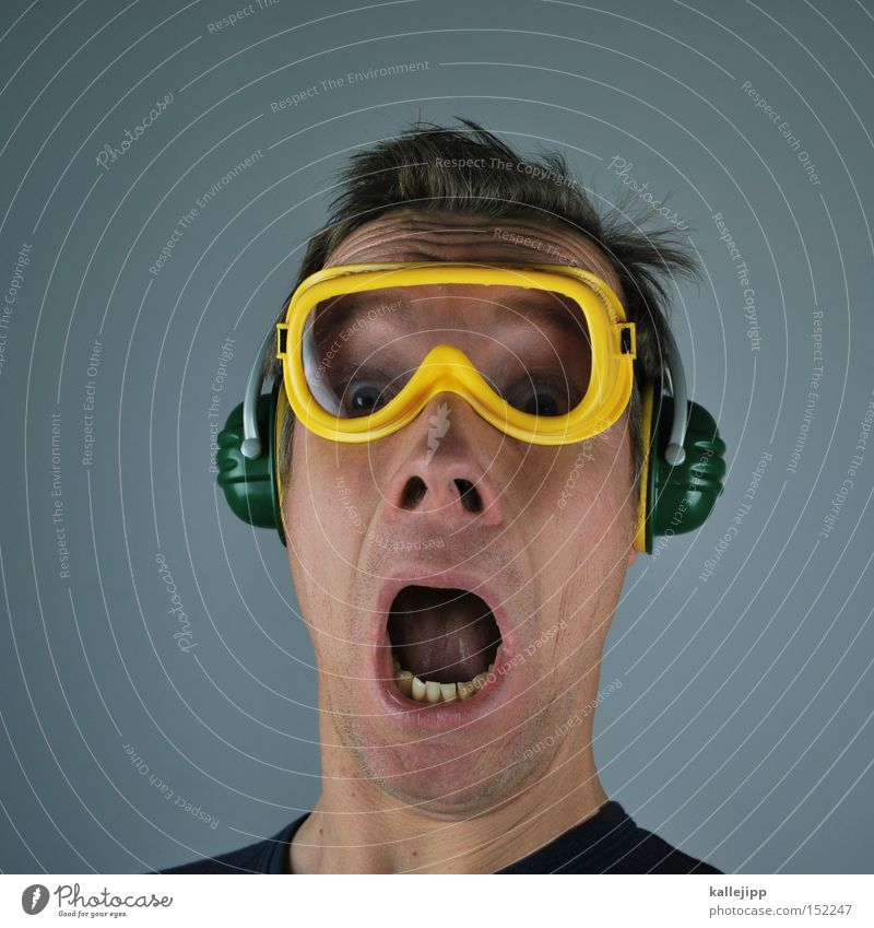 3... Human being Construction worker Construction site Saftey goggles Ear protectors Tension Loud Crash Frightening Volume Bang Firecracker decibel