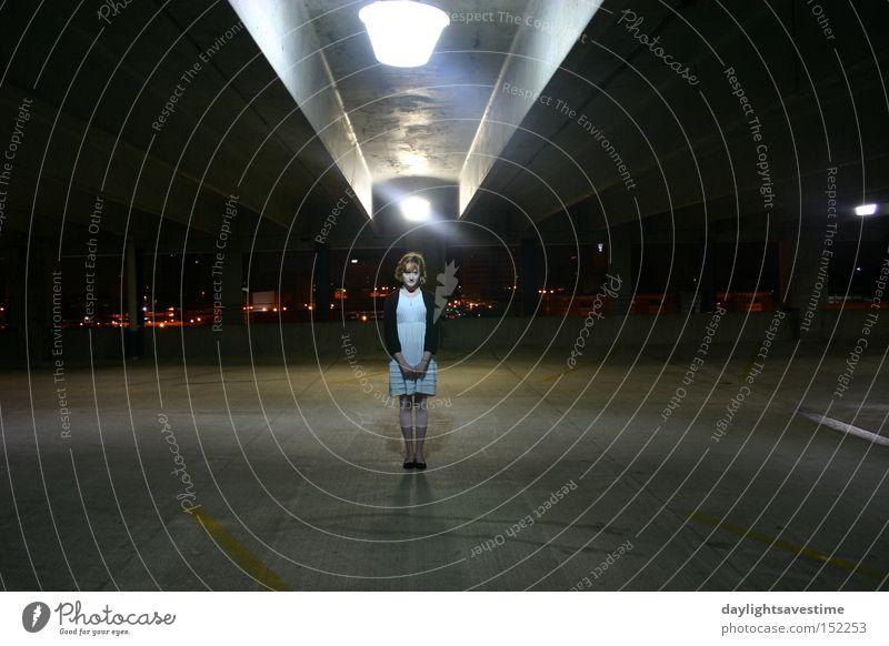 Perceptions Town Night Woman Architecture Young woman Artificial light Central perspective Parking garage Parking level Individual Isolated (Position)