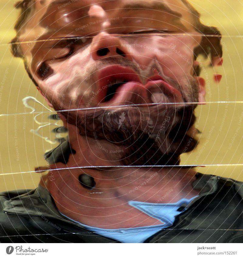 Human being Man Adults Face Think Crazy Fantastic Transience Change Creepy Mirror Pain Snapshot Bizarre Flow Identity