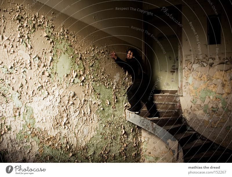 Man Old Loneliness Colour Dye Line Contentment Room Wait Dirty Stairs Stand Derelict Shabby Bursting Shaft of light