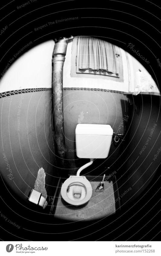 00 Bathroom Bowl Fisheye Black & white photo Hollow Toilet Hut Rinse