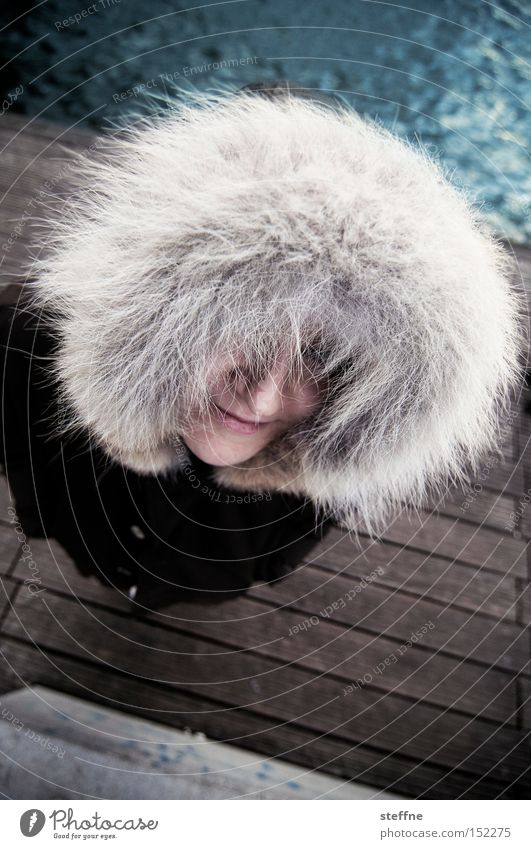 Afro look for white suburban girls Inuit Woman Hooded (clothing) Spree Footbridge River bank Winter Pelt Looking Cold fur cap shag