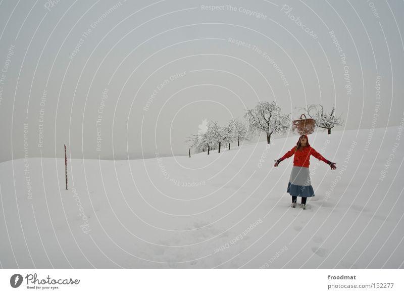 White Tree Calm Winter Cold Mountain Gray Switzerland Fairy tale Bleak Basket Little Red Riding Hood