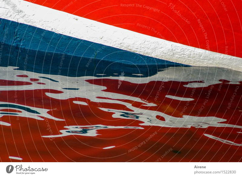 British boat Water Waves Coast Ocean Navigation Boating trip Fishing boat Dinghy Swimming & Bathing Wet Blue Multicoloured Red White Colour Flag English