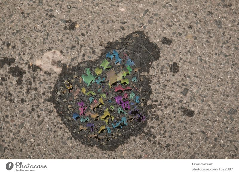 oily street photography Traffic infrastructure Street Lanes & trails Multicoloured Gray Black Oil Patch Oil slick Dirty Environmental pollution