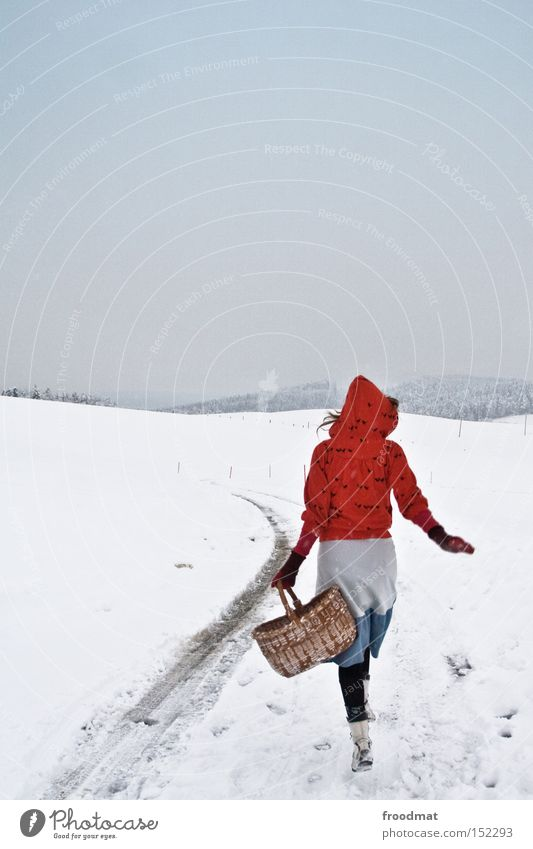 I'm gonna go. Winter Little Red Riding Hood Fairy tale Tree Mountain Switzerland Cold White Gray Calm Basket Bleak Woman