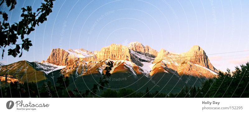 Snow Autumn Mountain Orange Peak Sunrise Canada Beautiful weather Glacier National Park Alberta Rocky Mountains Banff National Park